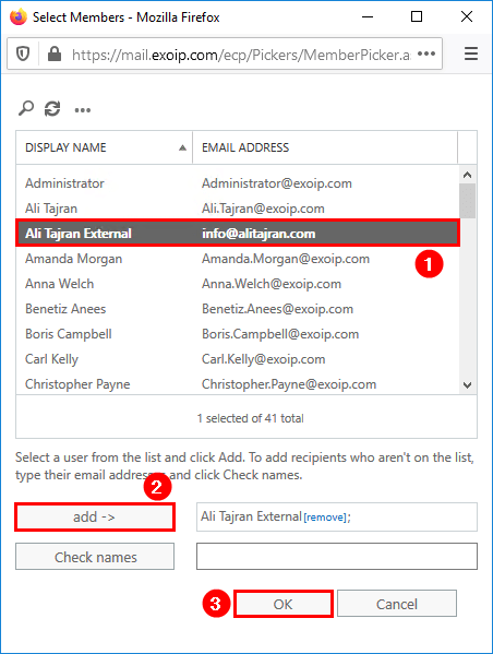 External recipient for notification emails in migration batch select external recipient