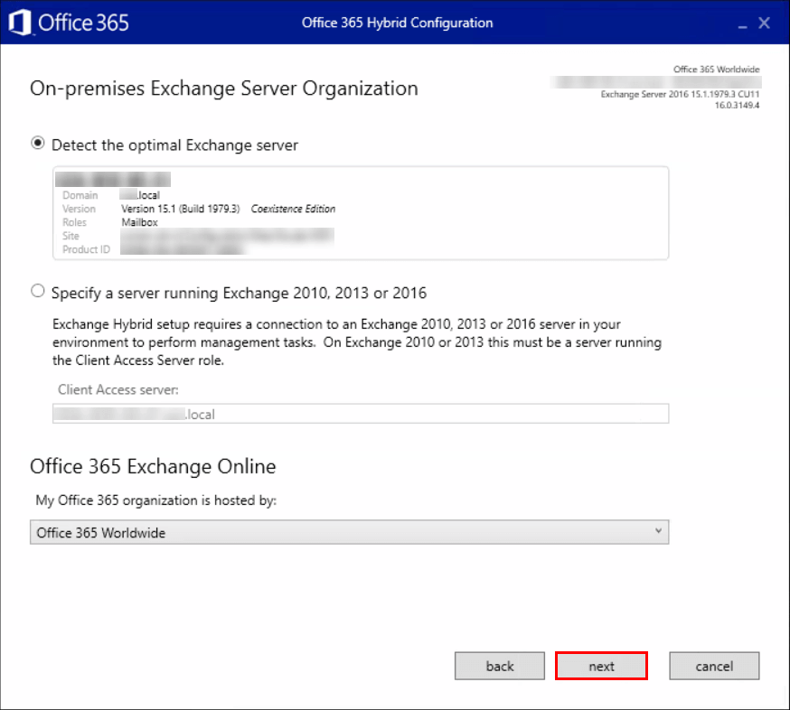 Hybrid Configuration Service may be limited On-premises Exchange Server Organization