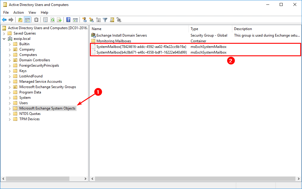 Check Exchange arbitration mailboxes Exchange System Objects