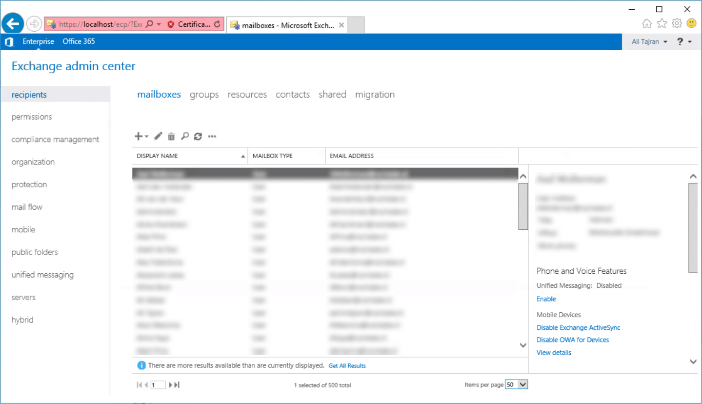 Exchange 2016 ECP redirects to Exchange 2010 ECP Exchange 2016 showing