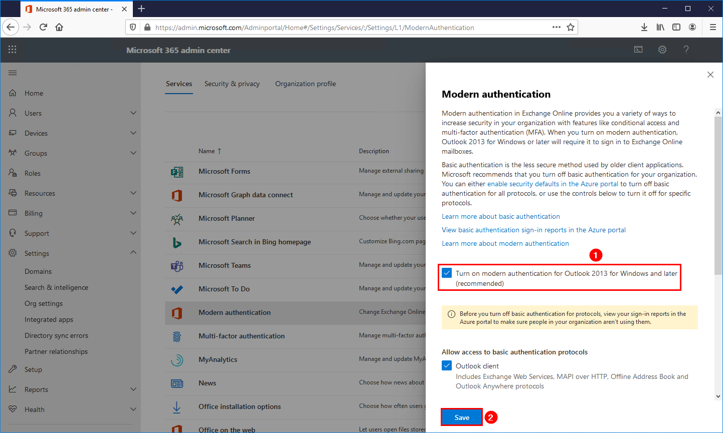 Outlook prompts for password after migration to Office 365 enable modern authentication
