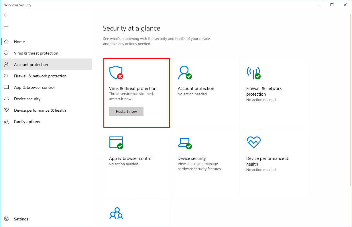 Turn off Windows Defender in Windows 10 Windows Security stopped