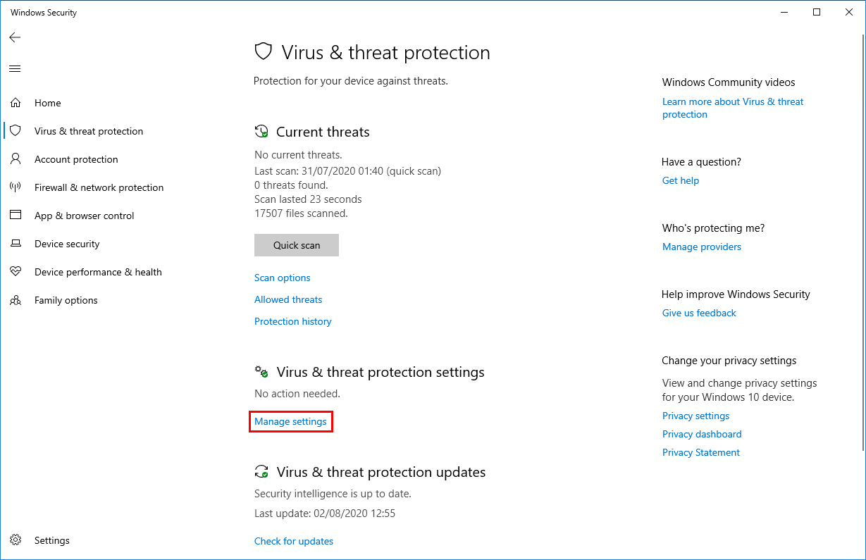 Turn off Windows Defender in Windows 10 manage settings