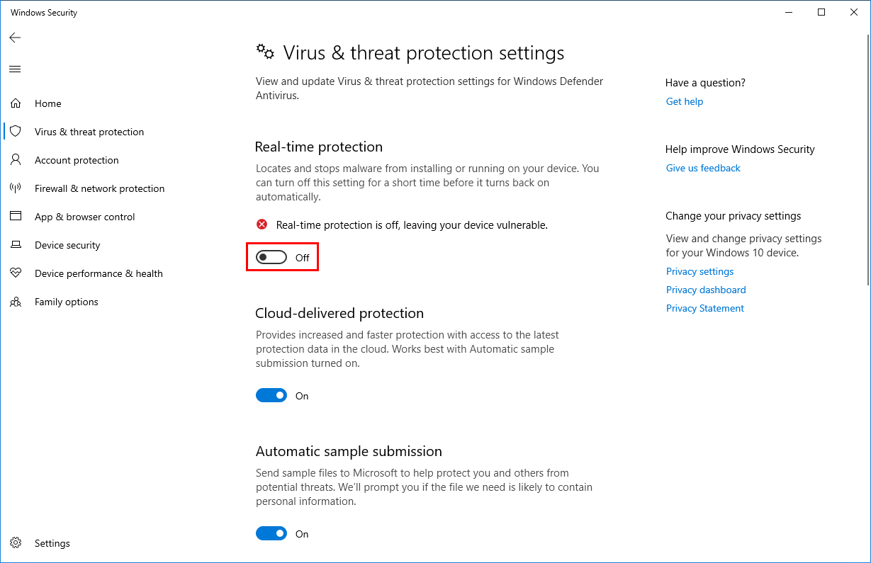 Turn off Windows Defender in Windows 10 real-time protection off
