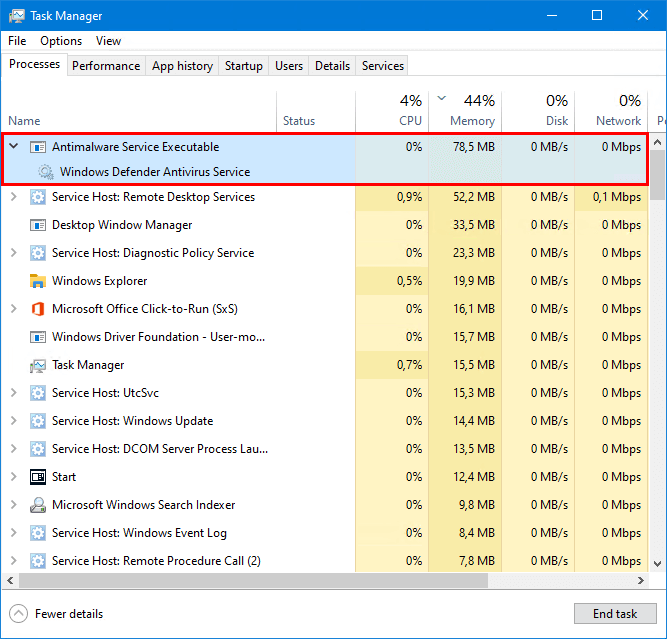 Turn off Windows Defender in Windows 10 task manager active