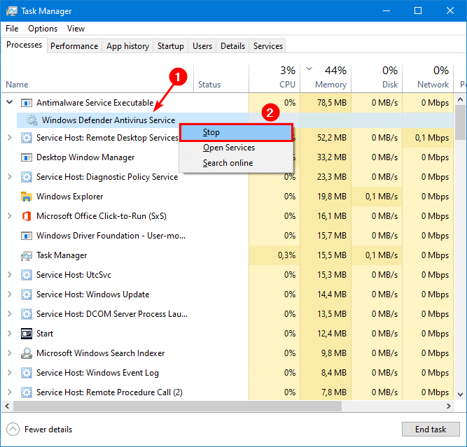 Turn off Windows Defender in Windows 10 task manager stop service