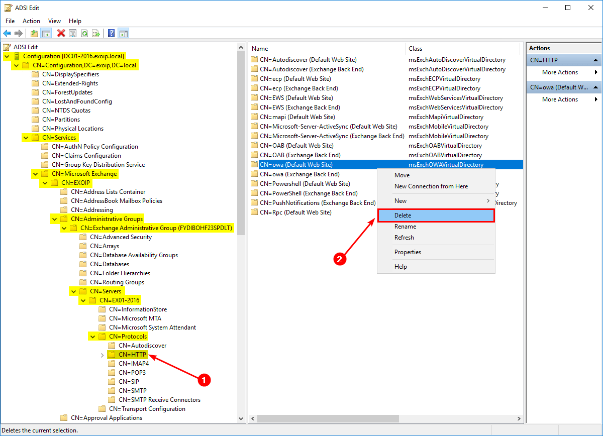 An error occurred while creating the IIS virtual directory ADSI Edit delete virtual directory