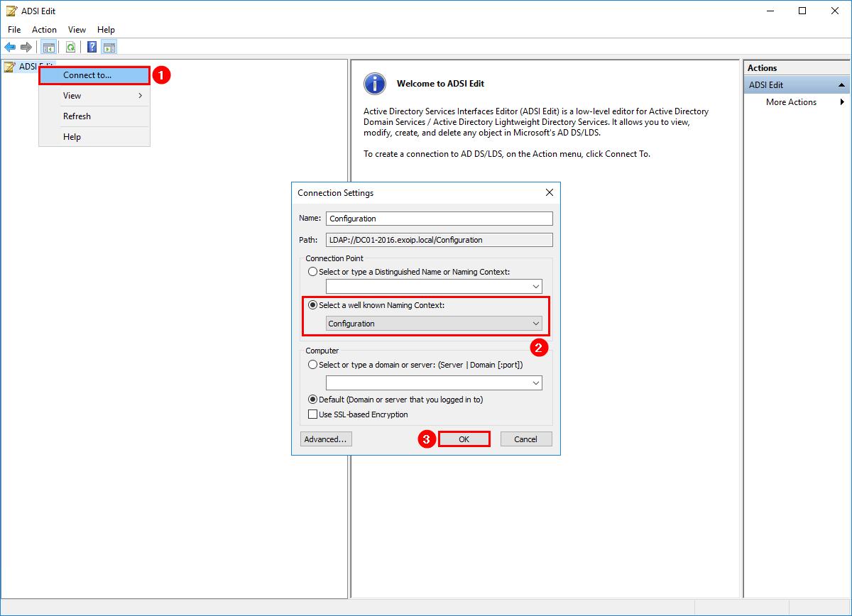 An error occurred while creating the IIS virtual directory ADSI Edit