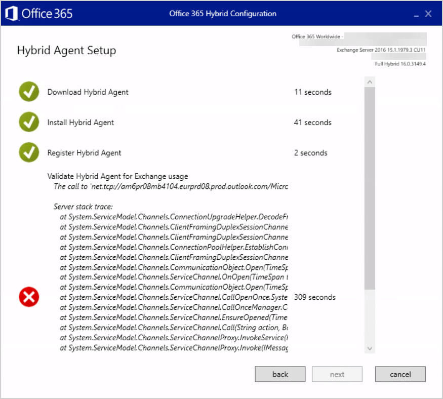 HCW8078 – Migration Endpoint could not be created Hybrid Agent Setup