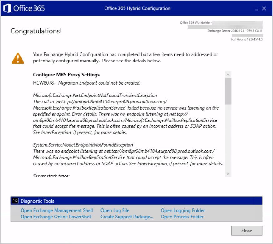 HCW8078 – Migration Endpoint could not be created