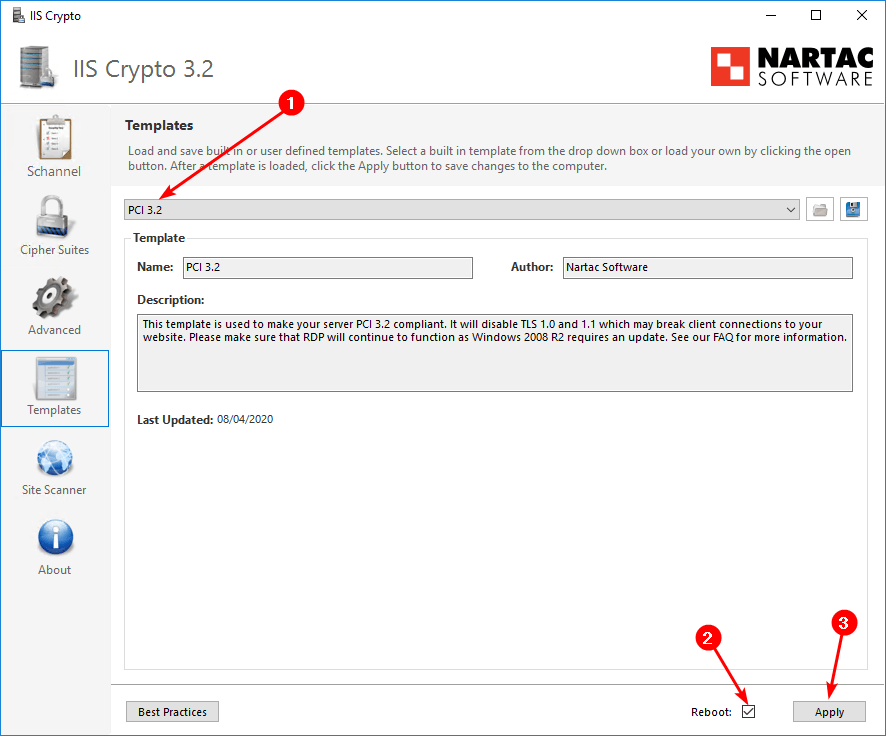 How to enable TLS 1.2 on Windows Server IIS Crypto PCI 3.2 template