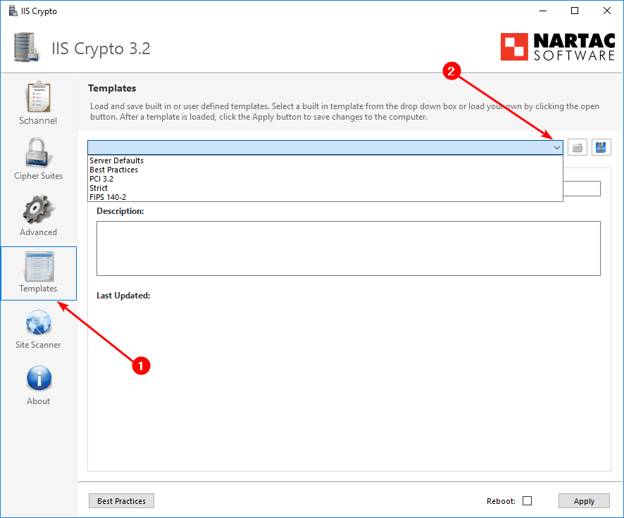 How to enable TLS 1.2 on Windows Server IIS Crypto templates