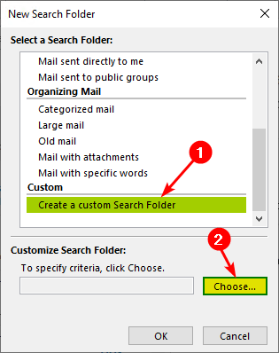 Mark all messages as read in Outlook create custom search folder
