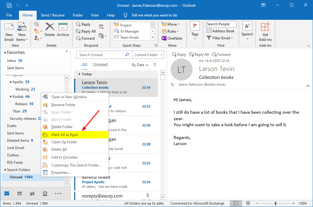 Mark all messages as read in Outlook mark all as read