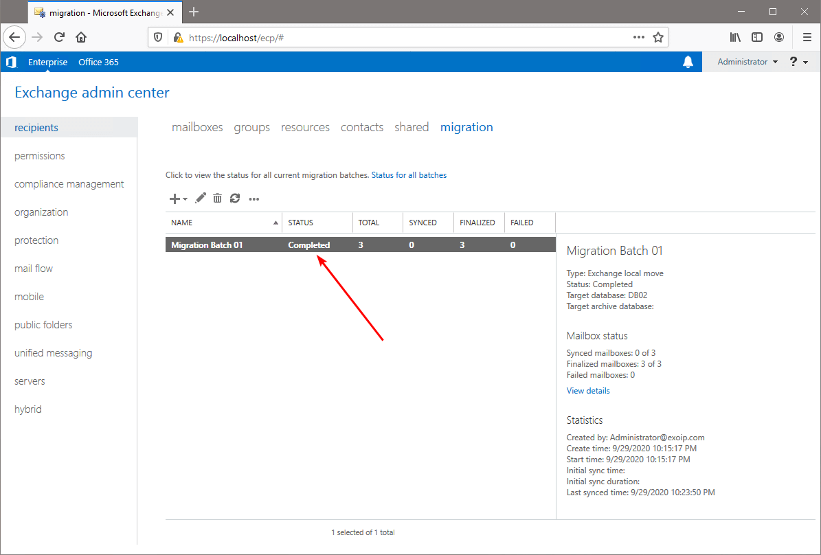Move mailbox in Exchange Admin Center migration batch completed