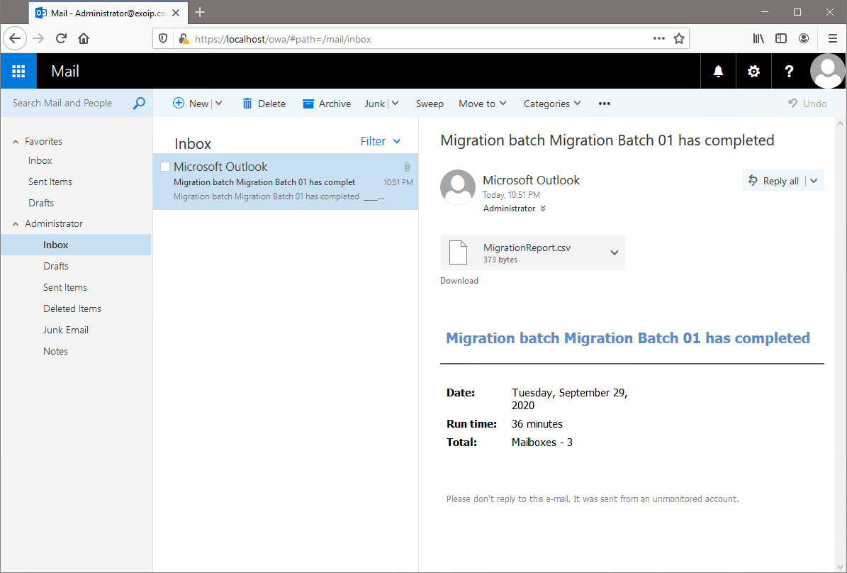 Move mailbox in Exchange Admin Center migration report
