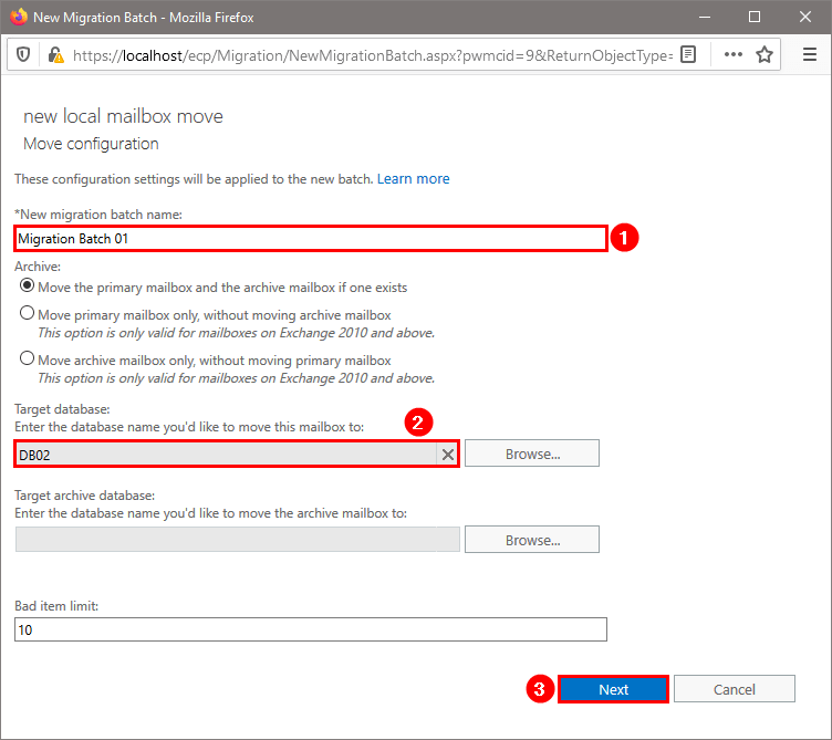 Move mailbox in Exchange Admin Center move configuration