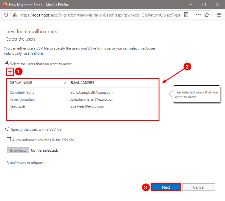 Move mailbox in Exchange Admin Center select users
