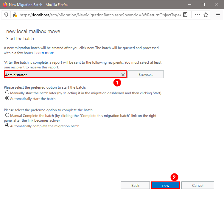 Move mailbox in Exchange Admin Center start the batch