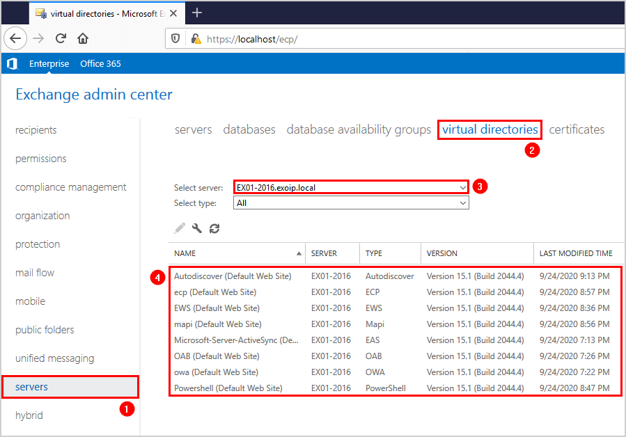 Recreate virtual directories in Exchange Server EAC