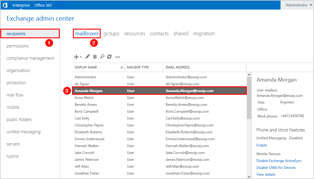List all mailboxes user has access to with PowerShell EAC list view