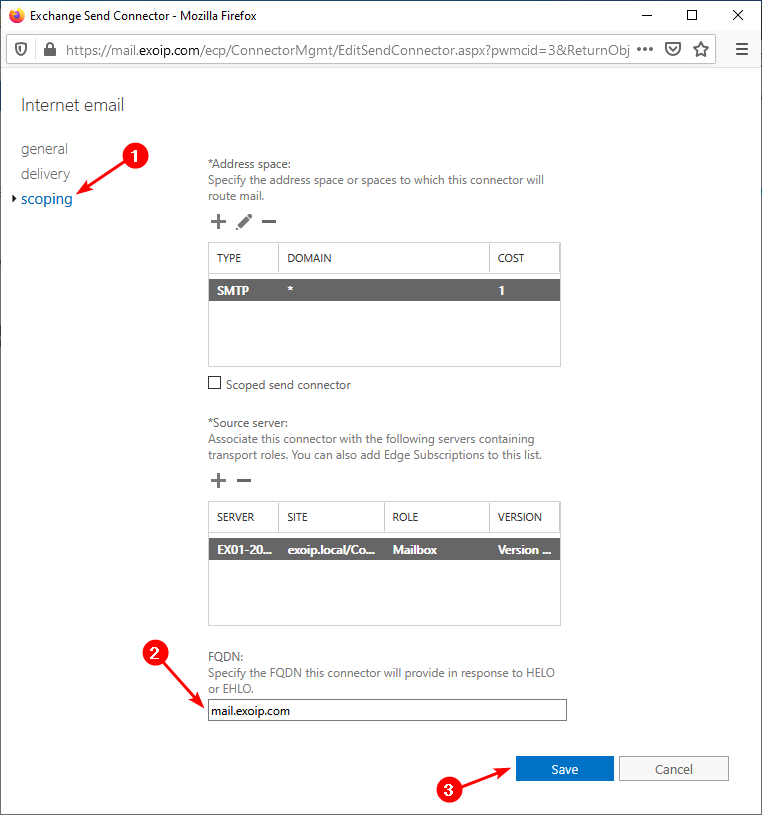 Remove message header in Exchange Server add FDQN send connector EAC