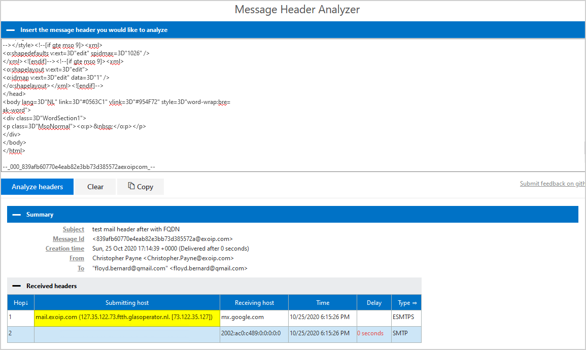 Remove message header in Exchange Server analyze headers after fqdn