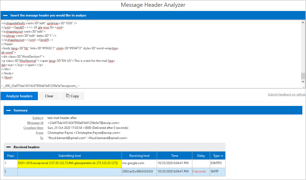 Remove message header in Exchange Server analyze headers after
