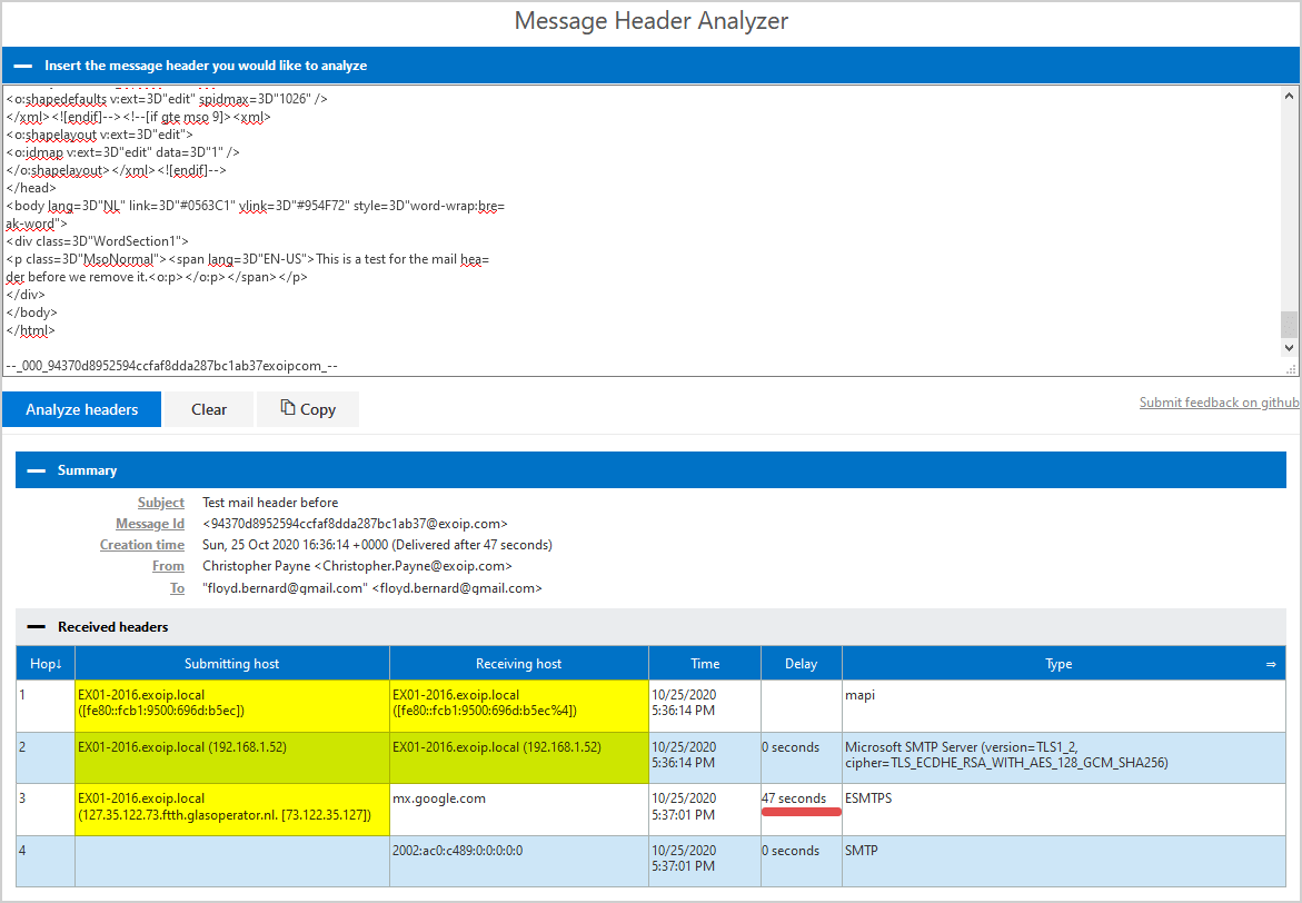 Remove message header in Exchange Server analyze headers before