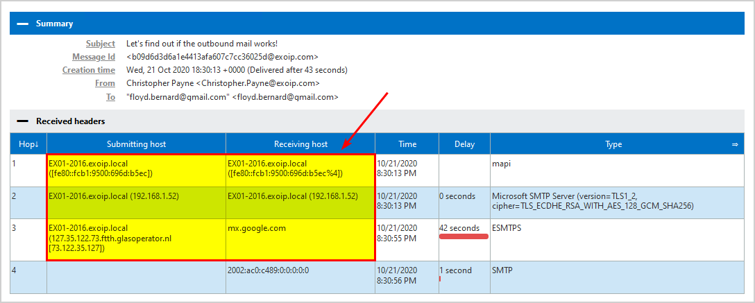 Test outbound mail flow in Exchange Server 2016 received headers
