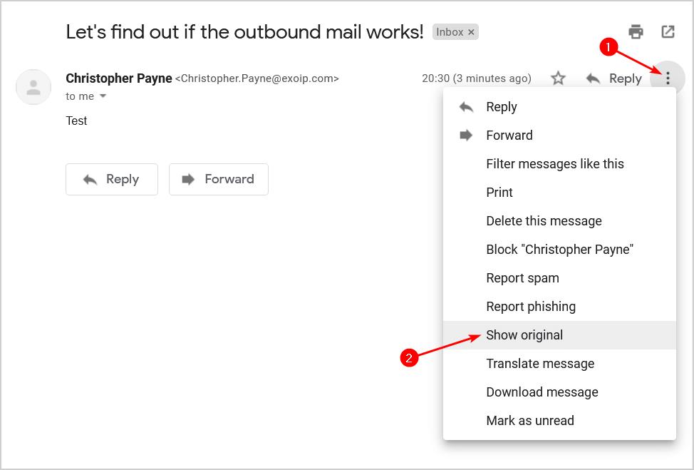 Test outbound mail flow in Exchange Server 2016 show original