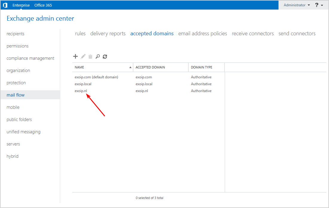 Add second domain to Exchange Server domain added