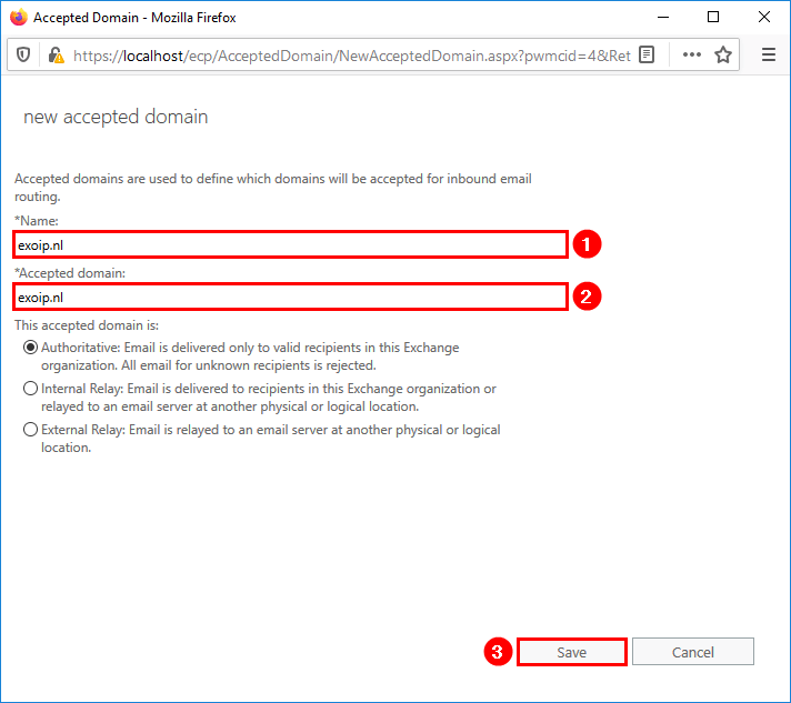 Add second domain to Exchange Server new accepted domain