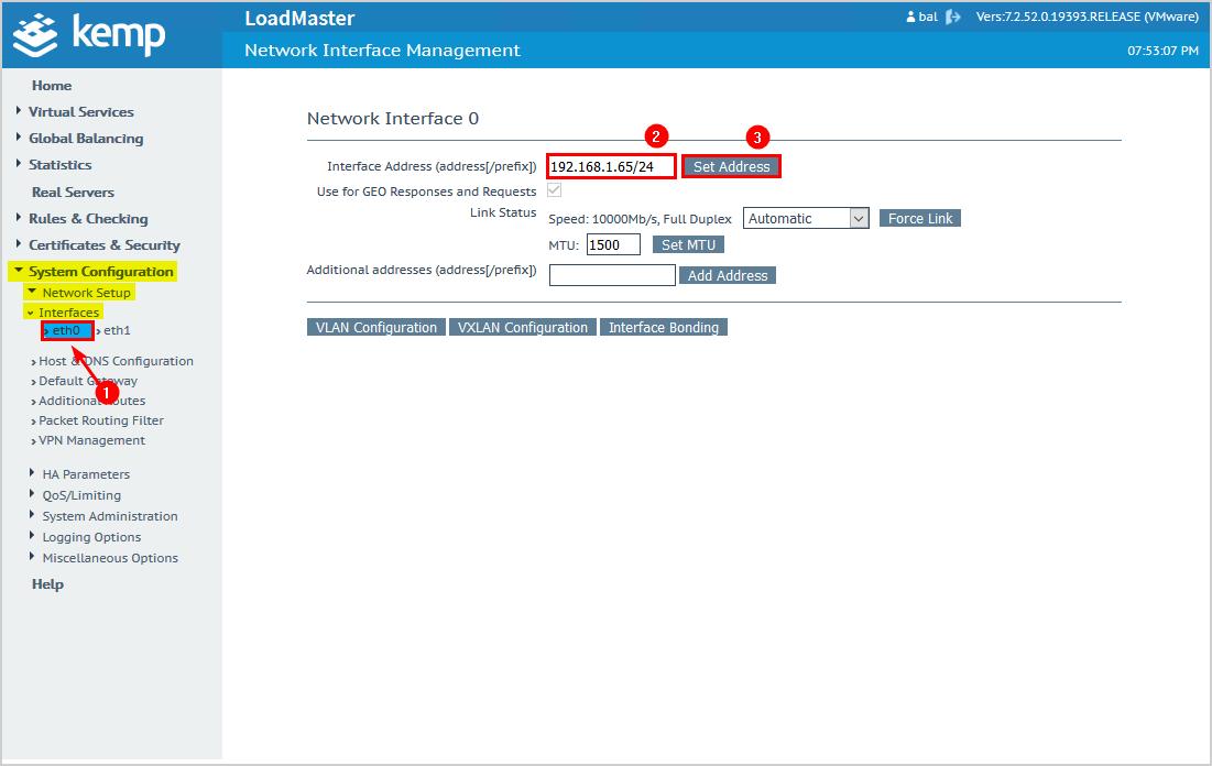 Configure Kemp virtual load balancer IP address