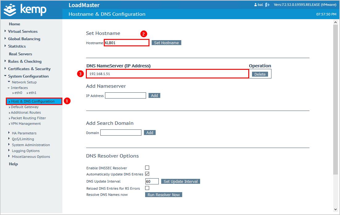 Configure Kemp virtual load balancer hostname and DNS nameserver