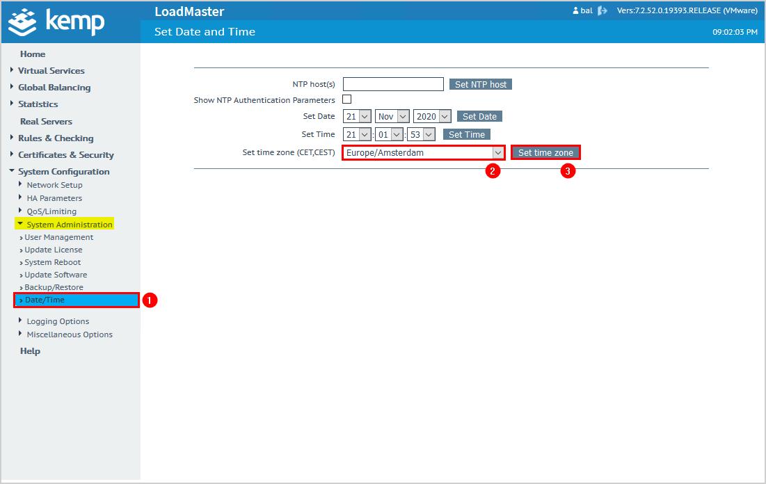 Configure Kemp virtual load balancer date and time