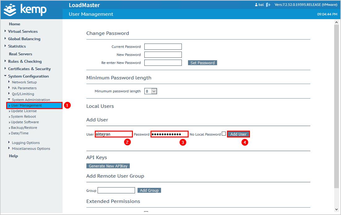 Configure Kemp virtual load balancer add user