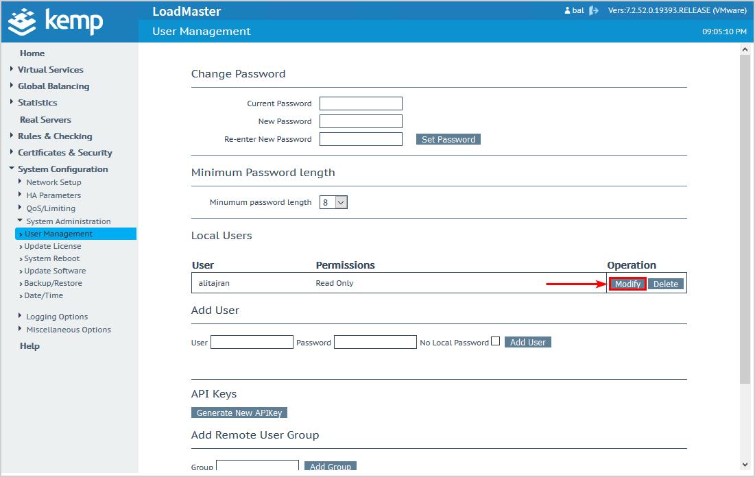 Configure Kemp virtual load balancer modify user