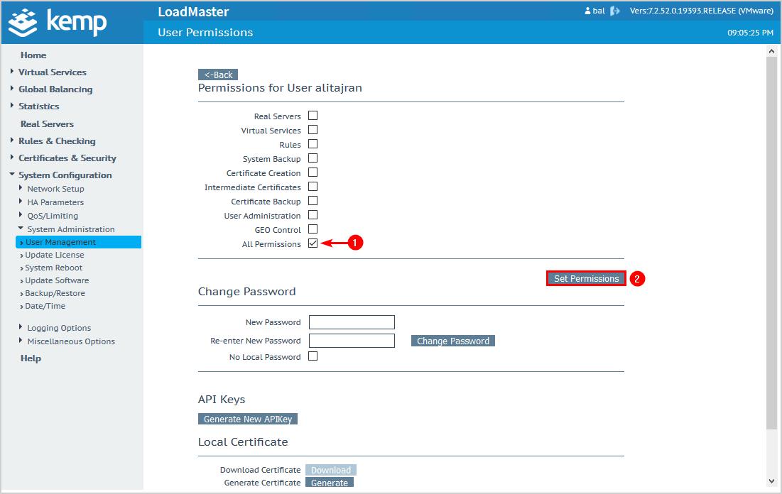 Configure Kemp virtual load balancer set user permissions