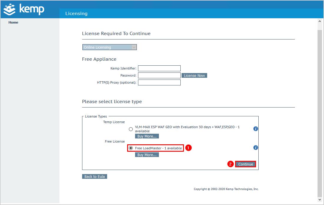 Configure Kemp virtual load balancer license types
