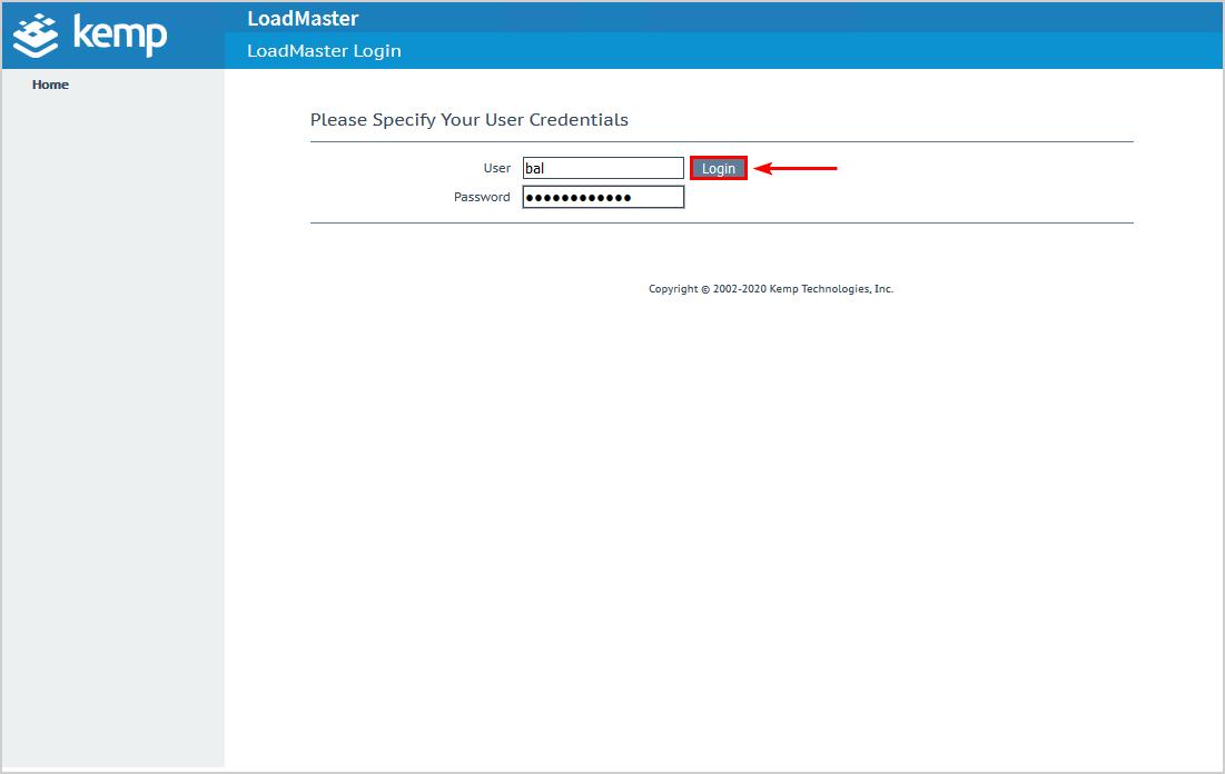 Configure Kemp virtual load balancer login