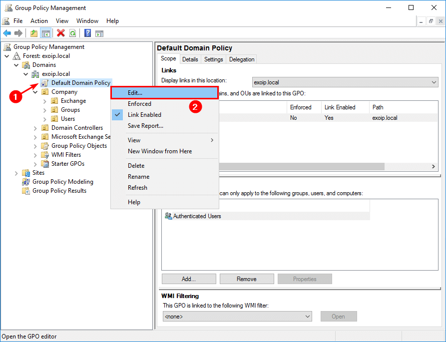 Create Central Store for Group Policy Administrative Templates edit default domain policy