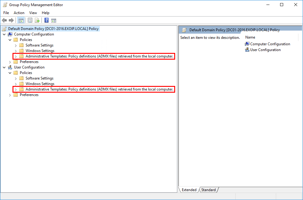 Create Central Store for Group Policy Administrative Templates local computer