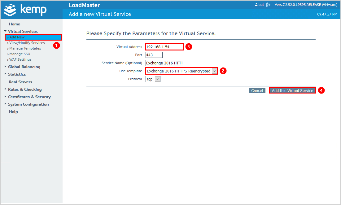 Exchange HTTPS high availability with Kemp load balancer 4