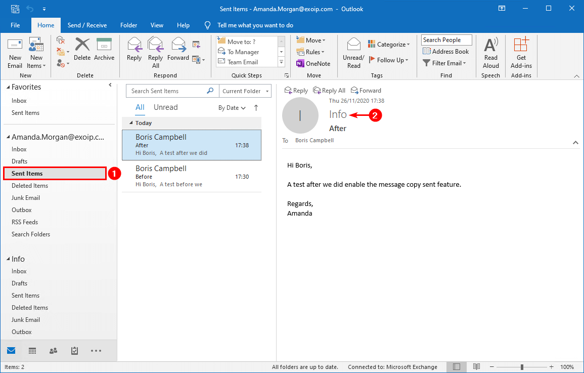 Save sent items in shared mailbox with PowerShell sent items after