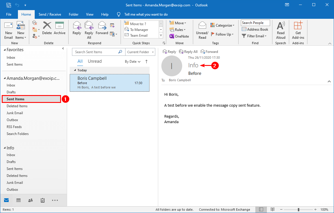 Save sent items in shared mailbox with PowerShell sent items before