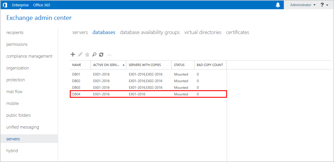 Check Exchange database copy seed status before