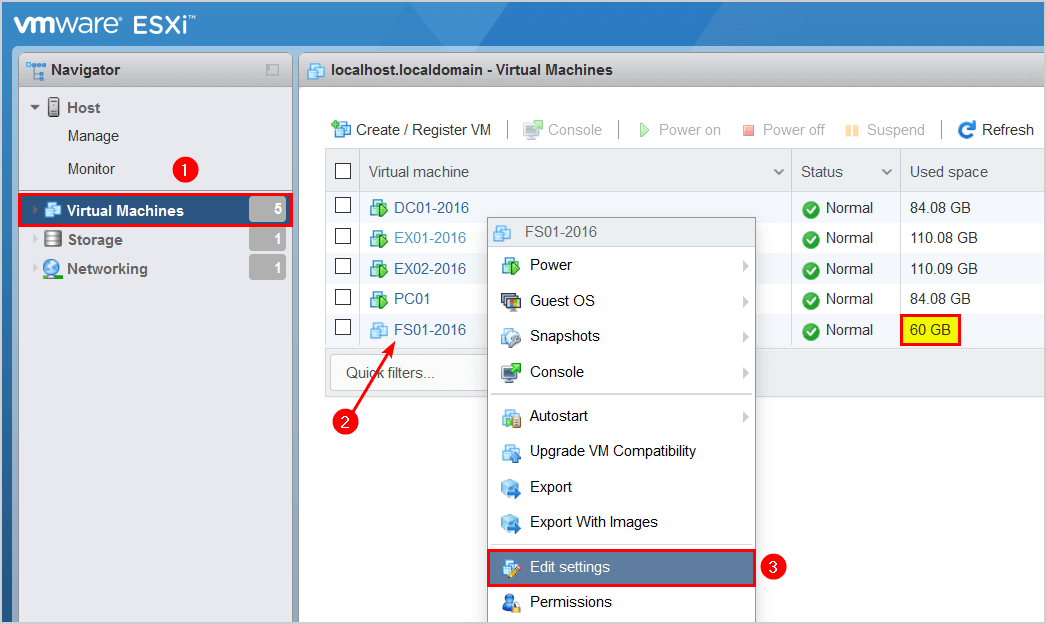 Convert thick provisioned disk to thin on VMware ESXi edit settings