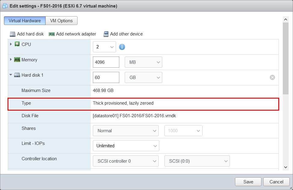 Convert thick provisioned disk to thin on VMware ESXi disk type thick provisioned lazily zeroed