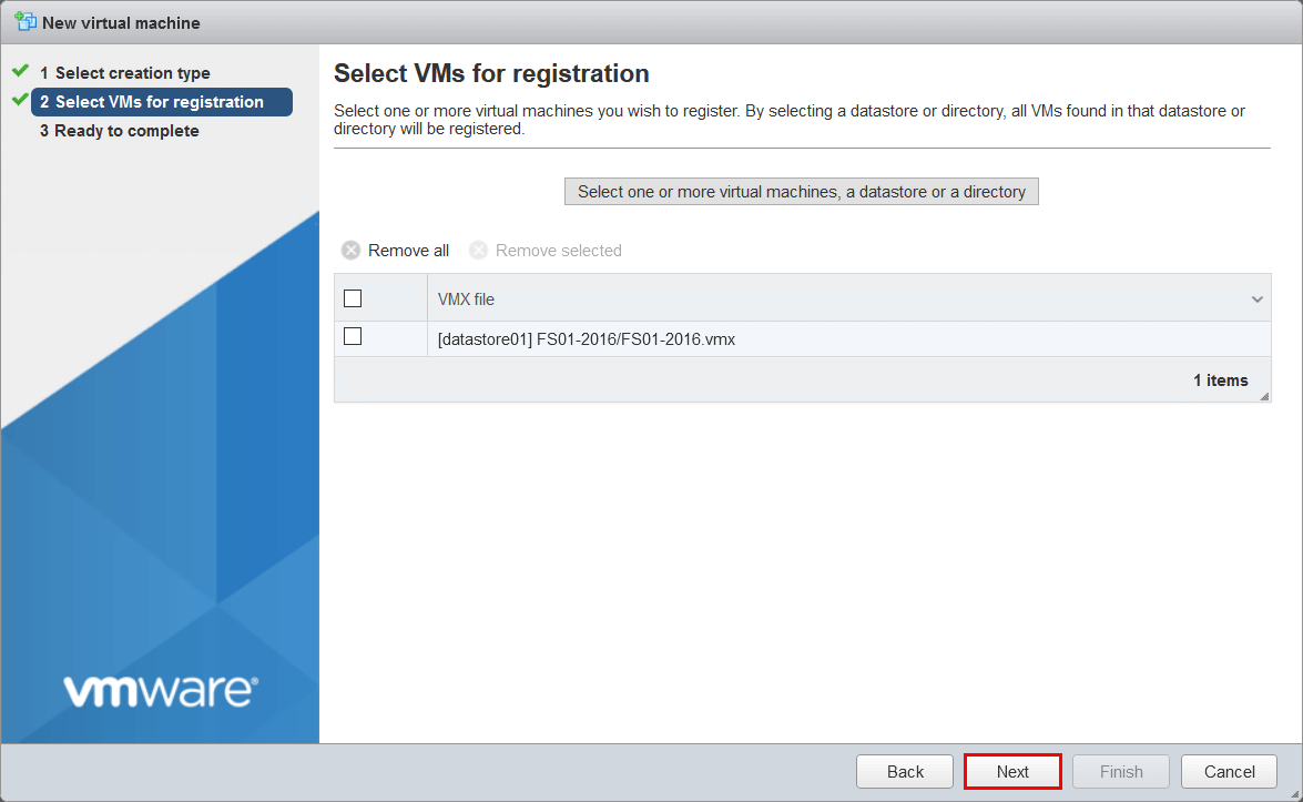 Select VMs for registration screen